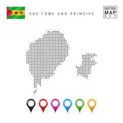 Vector Dotted Map of Sao Tome and Principe. Silhouette of Sao Tome and Principe. Sao Tome and Principe Flag. Map Markers