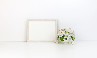Horizontal frame floral mockup, white flowers, styled stock photo
