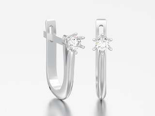 3D illustration silver diamond solitaire earrings with hinged lock