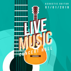lvie music poster and guitar party flyer template