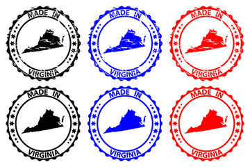 Made in Virginia - rubber stamp - vector, Virginia (United States of America) map pattern - black, blue and red