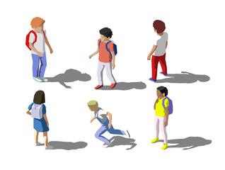 Vector isometric childrens, school students set. Low poly style