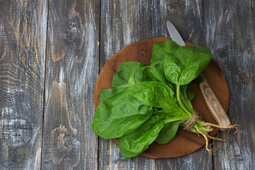 Bunch of fresh spinach with roots on a cutting board with a knife. on a wooden table. rustic style. free space