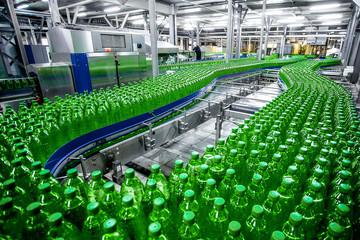 Plastic  bottles on factory line