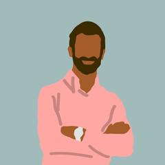 Man with dark hair and beard wearing a salmon shirt