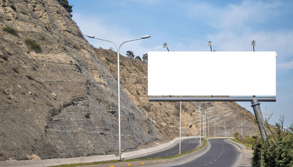 Billboard canvas mock up on the road
