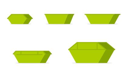 Green waste skip bin icon set
