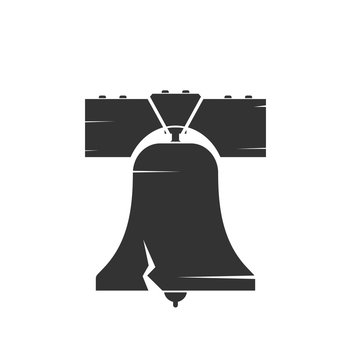 Liberty bell silhouette icon. Clipart image isolated on white background