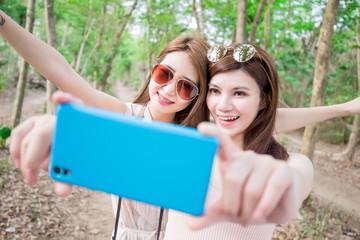 two beauty woman selfie happily