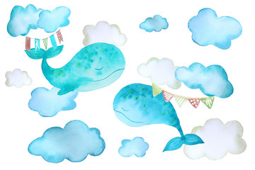 stickers with whales and clouds