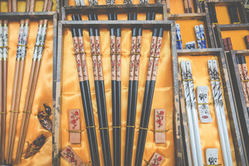 China chopsticks assortment in local market.