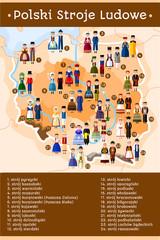 Polish folk costumes map