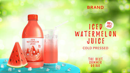 Iced watermelon juice advertisement. Vector illustration with realistic bottle, watermelon slice, glass and ice cubes on wooden table.