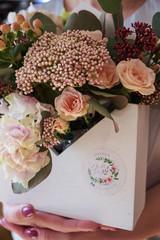 flowers bouquet box close-up