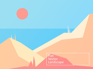 Vector modern flat landscape with the mountains and sea. Vector Illustration