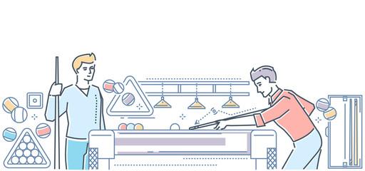 Billiard - modern line design style colorful illustration