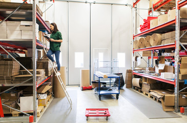 Woman analyzing cardboard box while standing on ladder in warehouse