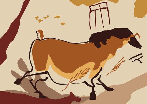 Préhistoire - homme préhistorique - archéologie - cheval - art - dessin - primitif - artiste - peinture