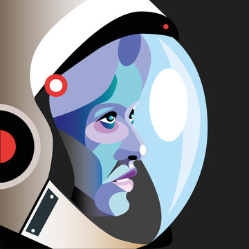 Astronaut woman wearing space helmet