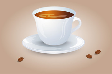 Classic black coffee in a white cup and saucer. Favorite morning drink. Vector illustration.