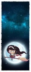 niña bruja volando en la luna