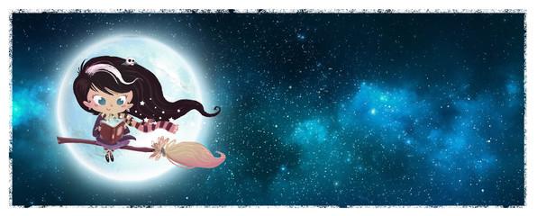 niña bruja en la luna