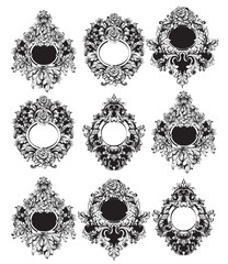 Baroque Round Frame sets collection Vector. Classic rich ornamented carved decors. Rococo sophisticated designs