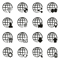 Modern Globe Icons Freehand Fill