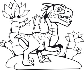 cartoon funny prehistoric velociraptor, contour drawing, coloring book