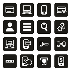 Mobile & Online Banking Icons White On Black