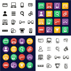 Mobile & Online Banking Icons All in One Icons Black & White Color Flat Design Freehand Set