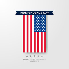 4th of July, United Stated independence day greeting. Fourth of July on white background design. Usable as greeting card, banner, flyer