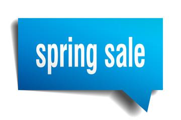 spring sale blue 3d speech bubble