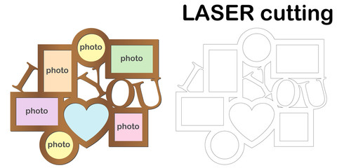 Frame for photos for laser cutting. Collage of photo frames. Template laser cutting machine for wood and metal