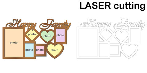 Frame for photos with inscription 'Happy Family' for laser cutting. Collage of photo frames. Template laser cutting machine for wood and metal