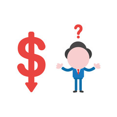 Vector confused businessman character with dollar moving down