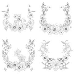 Set of vintage frame border monogram floral ornament. Engraved retro flower decorative design. Beautiful botanical decorative element for wedding invitation, logo. Vector design