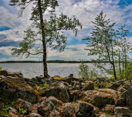 Windy day on lake Vuoksa in the Leningrad region.  Priozersky district.