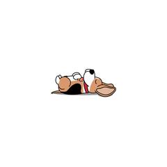 Lazy dog sleeping, cute beagle puppy lying on back  icon, vector illustration