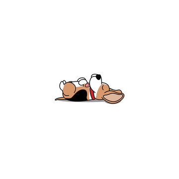 Lazy dog sleeping, cute beagle puppy lying on back  icon, vector illustration