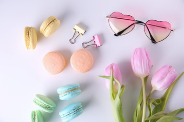 Aluminium Prints Macarons Composition with tasty colorful macarons on white background