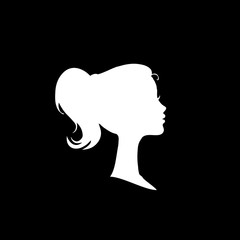 White profile silhouette of young girl or woman head, face profile, vignette