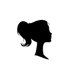 Black profile silhouette of girl or woman face profile on white.