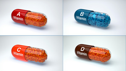 Vitamins concept. Vitamin A, B, C, D isolated on white background.
