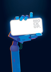 Mockup. Robot's hand holding a smartphone on the dark background
