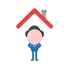 Vector businessman character standing under house roof