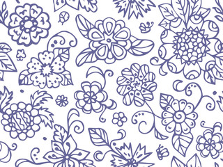 Для ИнтернAbstract summer flowers. Seamless pattern in doodle and cartoon style. Vector. EPS 10
