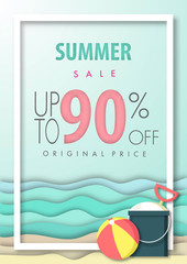 Summer sale background ,ninety percent off, beautiful beach paper art style with frame vector illustration template