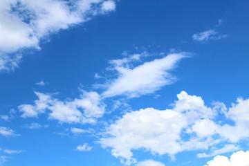 Beautiful blue sky and white fluffy cumulus clouds. Background. Landscape.