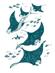 Manta ray and fish in the sea , stylized vector illustration